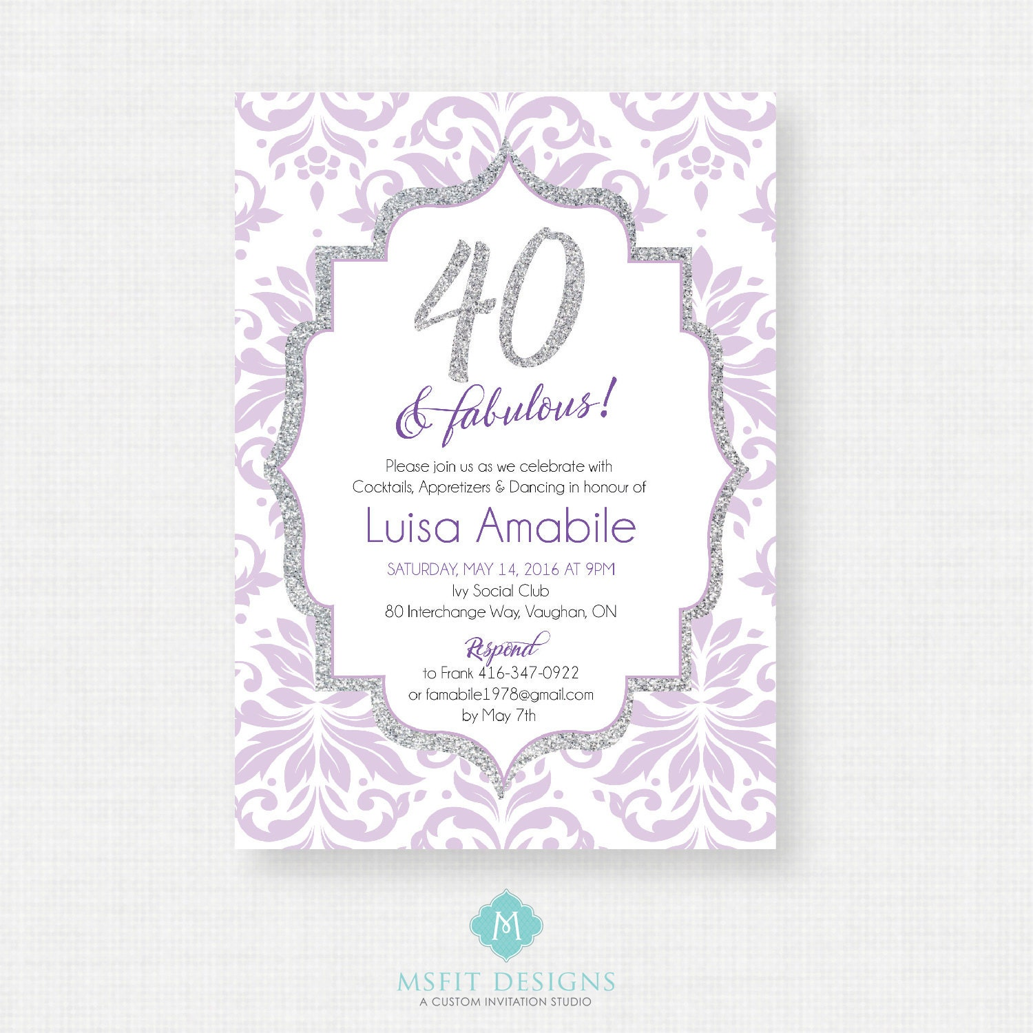 40 and fabulous 40th birthday invitation party invite adult 40 and fabulous 40th birthday invitation party invite adult surprise birthday elegant printable digital diy filmwisefo Images