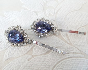 Violet Purple Bridal Hair Pins with Tanzanite Swarovski Crystal on Bobby Pin for Vintage Art Deco Hair Style or Victorian Wedding Headpiece