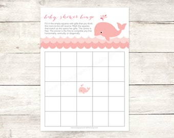 baby shower bingo game card printable DIY pink whale waves grey cute baby girl digital shower games - INSTANT DOWNLOAD