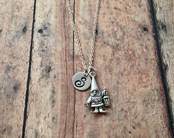 Garden gnome initial necklace - gnome jewelry, gift for gardener, gnome pendant, garden gnome necklace, silver gnome necklace