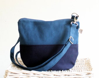 Daily Canvas Cross Body Bag - Teal Navy colors Messenger Bag - Two Tones Bag - Small Bag - Travel Bag - Long crossbody strap - everyday bag