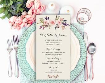 Floral Wedding Invitation Printable Boho Chic Wedding Menu Bohemian Wedding Invite Modern Typography Spring / Summer Wedding