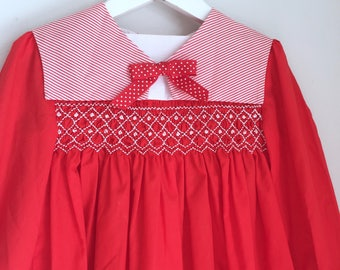 Vintage girls dress Polly Flinders red and white smocked size 3 size 4