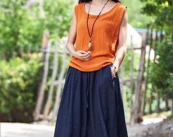 Women cotton and linen T-shirt – Sleeveless summer thin loose vest style t-shirt