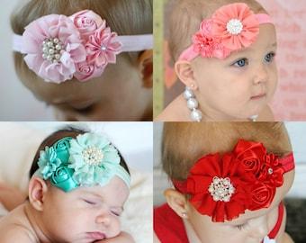U CHOOSE 1 Baby Headband, girls and newborn satin fancy hair bow