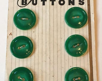 Cute shiny vintage green fashionable buttons on original cards
