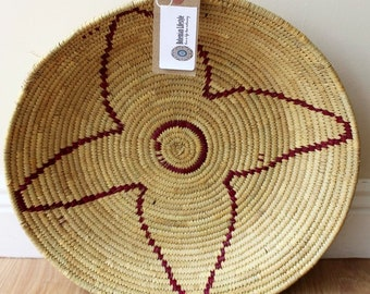 Moroccan Woven Plate  - Natural / Cerise
