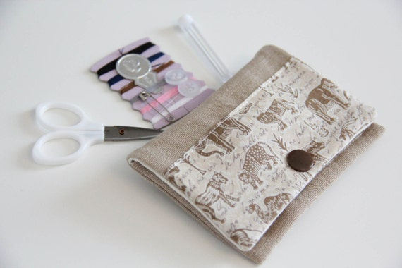Sewing kit - beige - animals - travel - threads - scissors - needle - pincushion - button - fixing