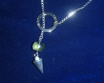 Dark Vitrial Crystal and Silver Spike 'FOCUS' Lariat Necklace - Gypsy, Magic, Protection, Wicca, Mysterious, Provocative, Good Luck