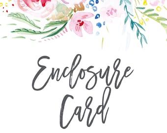 Enclosure Card; Printable or set of 25