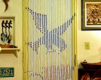 Vintage DEADSTOCK Bead Door Curtain NOS 70s Fringe Doorway Room Divider -- Bird \u0026 & Vintage hippie door beads | Etsy