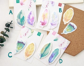 Watercolor Feathers Sticky Notes - feather post-its