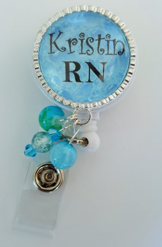 PERSONALIZED ID BADGE Reel Holder / Retractable id Badge Holder / Medical Badge Holder / rn / lpn / cna / emt / Paramedic / Teacher / Coach
