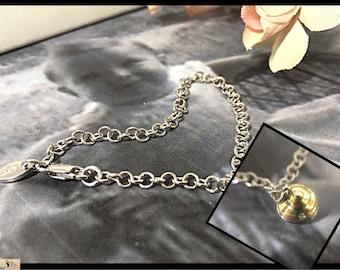 Vintage Diamond Silver Cupcake Baby Bracelet, 3D Sterling Silver, Silver Child Diamond Cupcake Charm Pendant  Adjustable Chain, 1st Birthday
