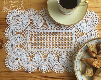 Gorgeous Elegant Classic hand made rectangular Crochet Doily