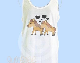 Horse tank top -Animal lover - Horse Love black heart - Lover tank top S M L XL - women tank tops - Horse singlet