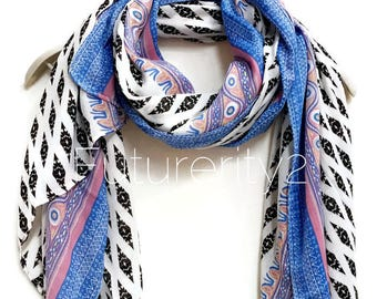 Ethnic Bohemian Blue Trim Scarf / Spring Summer Scarf / Autumn Scarf / Gifts For Her / gifts For Mother / Handmade Accessories