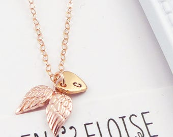 Rose Gold Angel Wing Initial Necklace, Personalized Angel Wing Necklace, Double Angel Wing Necklace, Rose Gold Wing Necklace, Bereavement