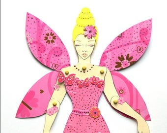 Fairy Princess Doll, Fairy Paper Doll, Jointed Paper Doll, Fairy Princess Paper Doll, Articulated Paper Doll, Pink Fairy Doll, Princess Doll