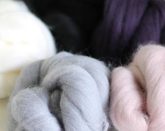 Winter Wool Bundle, Roving, Wool Roving, Needle Felting, Felting Wool, Dyed Roving, Roving Wool, Merino Wool, Needle Felting Kit, Wool