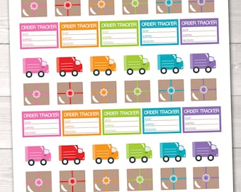 Delivery Trucks & Packages Printable Planner Stickers Instant Download Sticker Set PDF for Online Orders Order Tracking