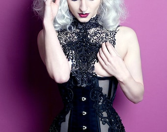 Lace and beaded burlesque couture collar available in black, white or red