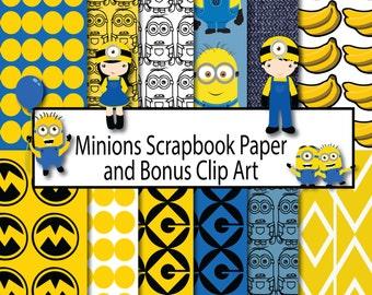 Minions Scrapbook Paper, Scrapbook Paper Minions, Instant Download, Clip Art Minions, Digital Paper Minions