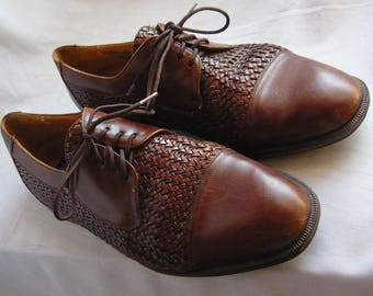 Vintage WOVEN Captoe Oxford Shoes  / Mens size 10 .5 m  Eu 44 Uk 9.5 / BRASSBOOT made in Spain / Brown Leather