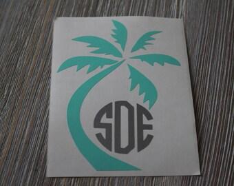 Palm Tree Monogram Car Decal - Monogram Palm Tree Car Decal - Monogram Car Decal - Monogram Decal - Car Decal - Palm Tree Decal - Monogram