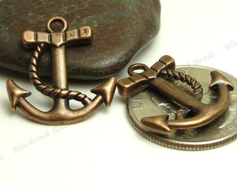 10 Antique Copper Boat Anchor Charms ( Double Sided ) - 22x20mm - Nautical Pendants, Boating Charms - BP5