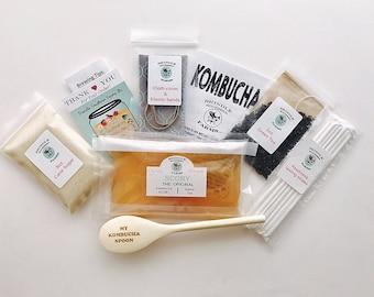 1 Gallon Kombucha Making Kit: SCOBY, tea, sugar, starter kombucha, ebook,etched wooden spoon, cloth cover and band. Kombucha Christmas Gift