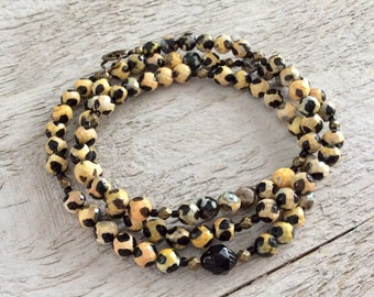 "Black and Gold Agate Necklace / One-of-a-Kind / Black Czech Glass / Antique Brass Beads - 25"" long"