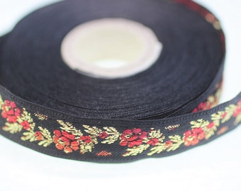 16 mm Black Front Red Floral Jacquard ribbon (0.62 inches) - jacquard trim - Balkans Decorative Ribbon - Sewing trim - collar trim -