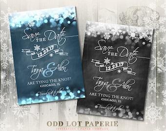 Chalkboard Save the Date, DIY Printable, Digital File, Winter Wonderland and Snowflakes, Printable Invitation, Christmas Wedding, Winter