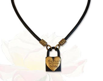 My Heart Belongs to Daddy BDSM Collar Black Leather Vintage Heart Submissive BDSM Daytime Slave Collar bdsm Jewelry
