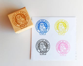 Delivered by Owl Post Rubber Stamp