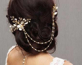 Wedding Hair Pins, Bridal Hair Piece, Rhinestone Hair Chain, Pearl Hair Comb, Pearl Hair Chain, Gold Hair Pins, Gold Hair Vine, Pearl Vine