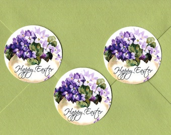 Stickers, Easter Stickers, Violets, Happy Easter, Sticker Seals