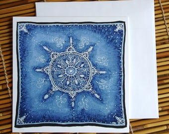 Snowflake Mandala Greeting Card - Print of Original Silk Painting