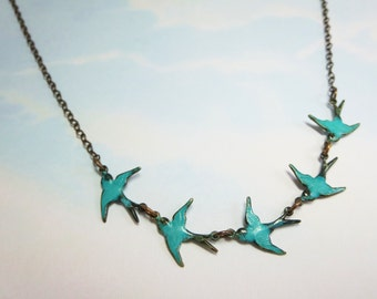 Blue Bird Necklace Bluebird Pendant Mother Child Jewelry