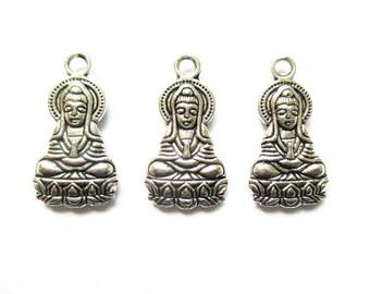 3 charms Buddha, Buddha pendant silver metal 20mm
