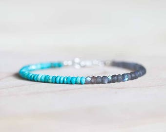 Sleeping Beauty Turquoise & Labradorite Bracelet, Delicate Beaded Gemstone Jewelry, Genuine Turquoise Sterling Silver Rose Gold Fill