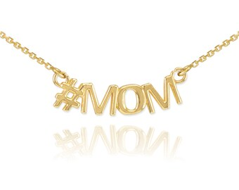 14K #Mom Necklace