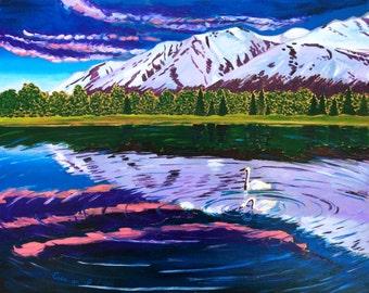 Alaska Mountains Painting, Wedding Gift, Two Swans Art, Gift for Parents, Seward, Alaska Landscape Art, Scott Clendaniel, Anniversary Gift