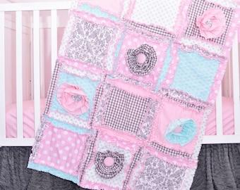 Baby Bedding Set - Gray / Mint / Light Pink Girl Crib Bedding - Girl Crib Set - Floral Nursery - Baby Rag Quilt, Skirt, Sheet, Crib Bumpers