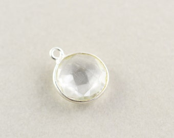 Sterling Silver Clear Quartz Round Charm, Silver Gemstone Charm, 11mm Stone Charm, One