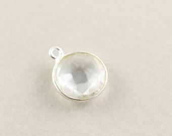 Argent sterling Quartz clair rond breloque, Charm argent pierres précieuses, 11mm breloque Pierre, un