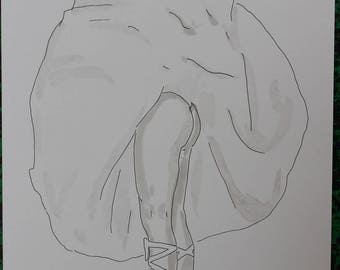 """drawing of nude female erotic """"Points"""""""