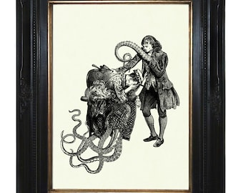 Octopus Art print Couple with Tentacles III Kraken Steampunk Art Print Victorian Lady Gentleman Rococo crying Valentine's Day