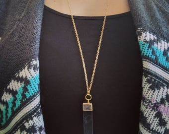 Stone Pendant Necklaces on Gold Chain